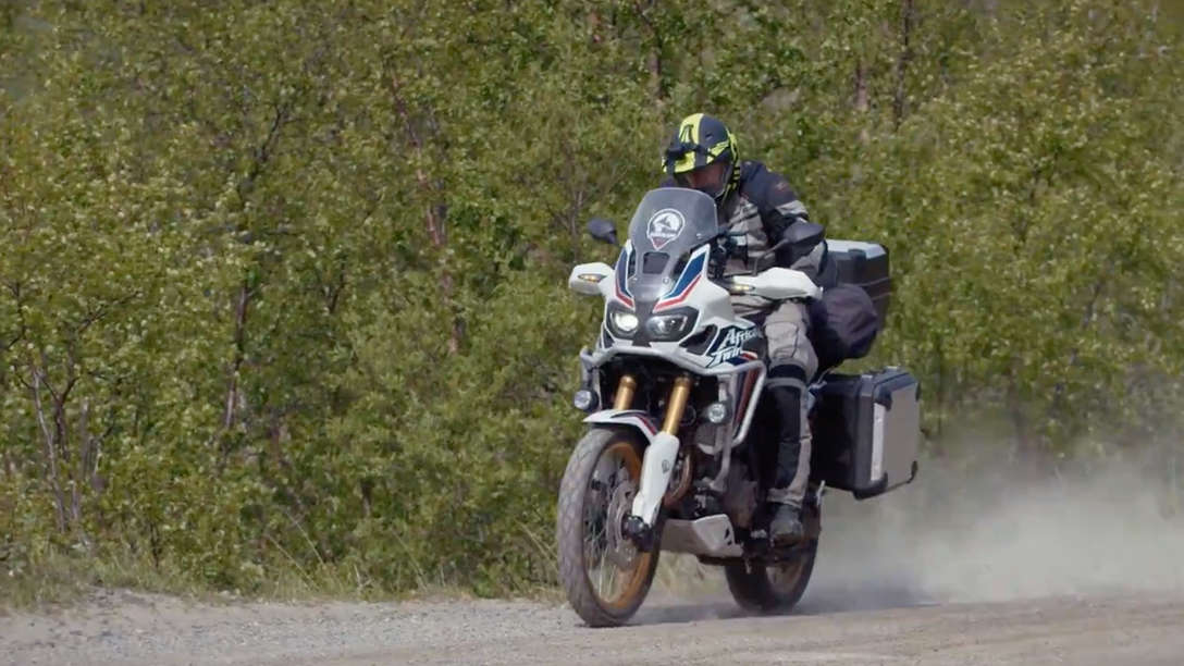 Honda Africa Twin rider on the road in Nordkapp.